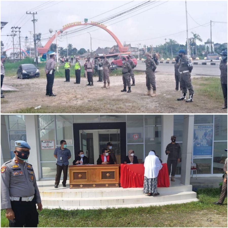 Polres Rohul Bersama OPD Rohul Melaksanakan Operasi Gabungan Yustisi Covid -19